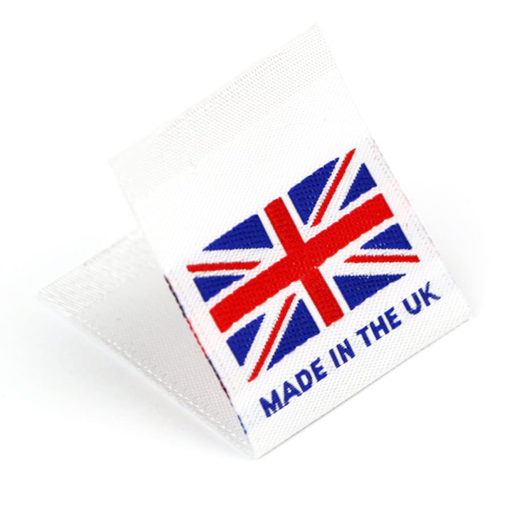 Gewebte Etiketten mit Flagge 'Made in the UK'