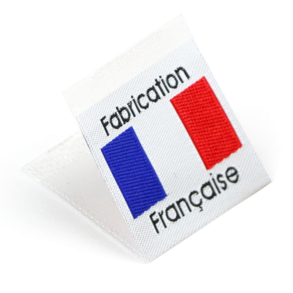 Gewebte Etiketten mit Flagge 'Fabrication Française'