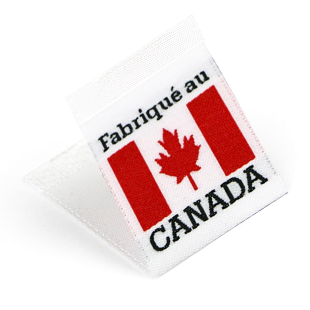 Gewebte Etiketten mit Flagge 'Fabriqué au Canada'