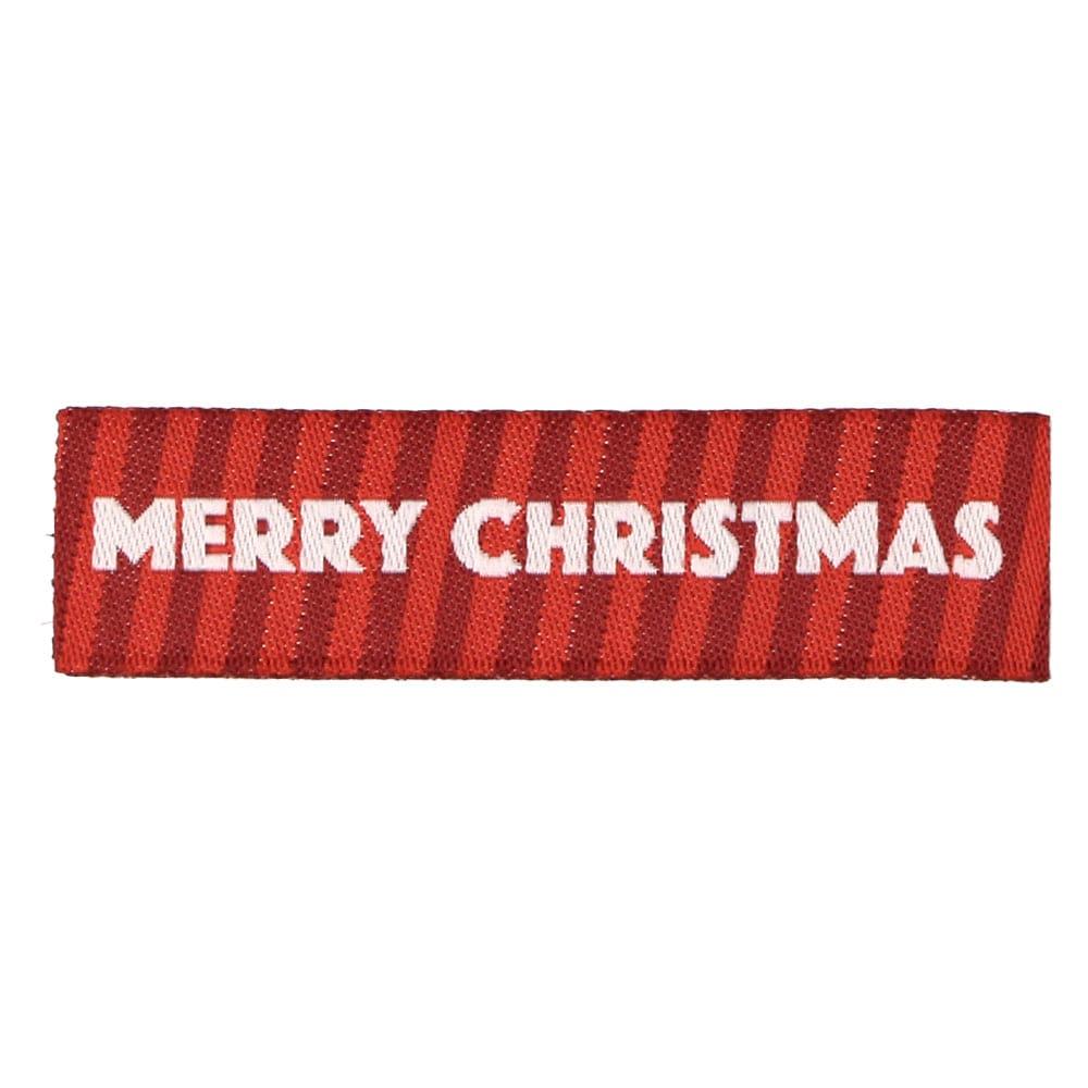 Weihnachtliche Webetiketten - Rot gestreift