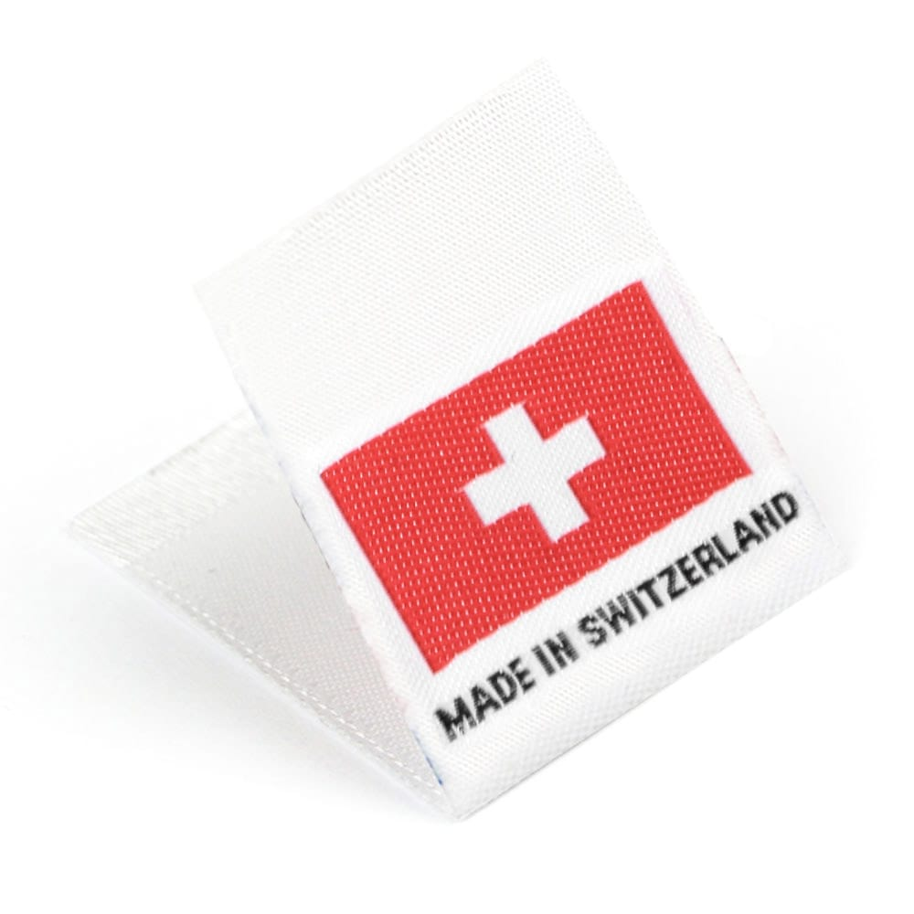 Gewebte Etiketten mit Flagge 'Made in Switzerland'