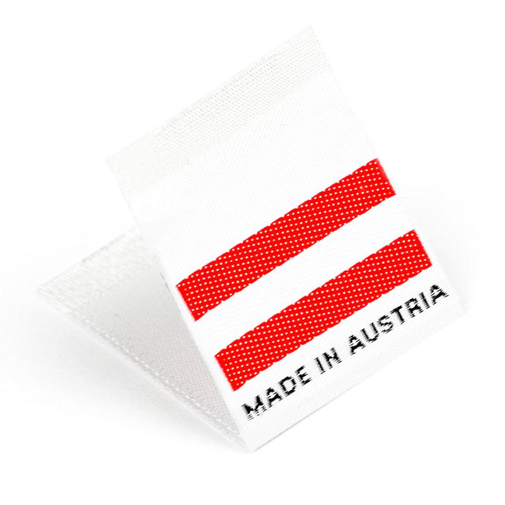 Gewebte Etiketten mit Flagge 'Made in Austria'
